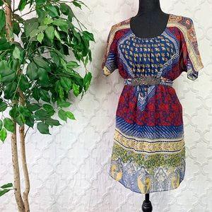Forever 21 Boho Chiffon Mixed Print Mini Dress